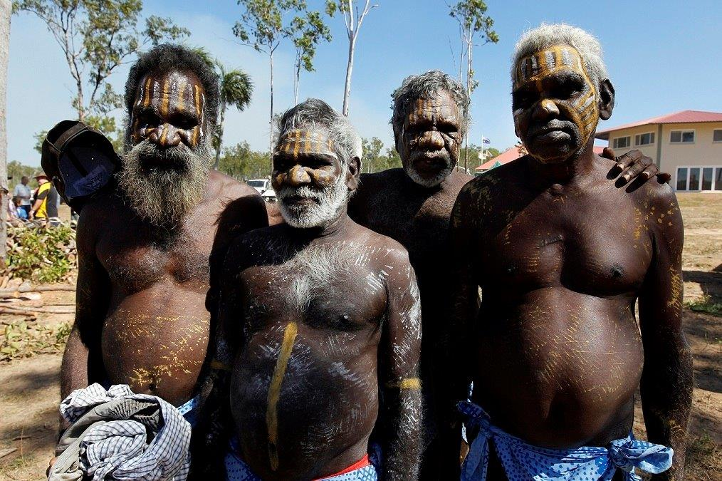 Tiwi Islanders painted for a ceremony